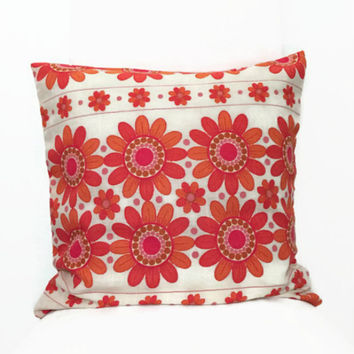 60s Fabric Pillow - Orange Pillowcase - Vintage Cushion - Vintage Sheet Fabric - Decorative Throw Pillow -  Floral Accent Pillow 16x16
