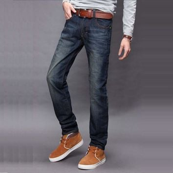 Fashion new Cat whisker long Men jeans Self-cultivation middle waist Casual Comfortable cotton Straight pants J3004