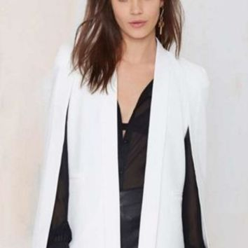 In Crowd Ivory Long Slit Sleeve Open Cape Blazer Jacket