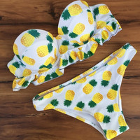 Furits Pineapple Print Push Up Swimsuit Bikini Set