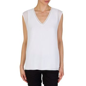 Michael Kors White Ribbed Neckline Sleeveless Blouse