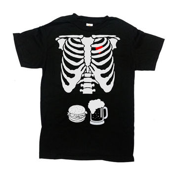 Burger and Beer Skeleton Rib Cage Shirt Halloween TShirt Halloween Costume Gift For Dad Expectant Father Funny Beer Party Mens Tee - SA456