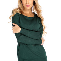 Forest Green Long Sleeves Casual Sweater Dress