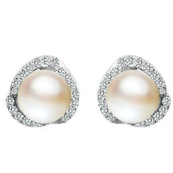 Womens 925 Silver Cut Crystal Stud Earrings With Pearl +Gift Box