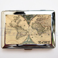 World Map Cigarette Case, Cigarette Holder, Lady's Cigarette Case, Card Holder