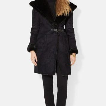 Women's Lauren Ralph Lauren Hooded Faux Shearling Drape Front Coat,