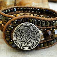 CUSTOM leather cuff bracelet wrap chan luu boho surfer zen earthly indie chic style with metallic glass czech beads & silver plated button