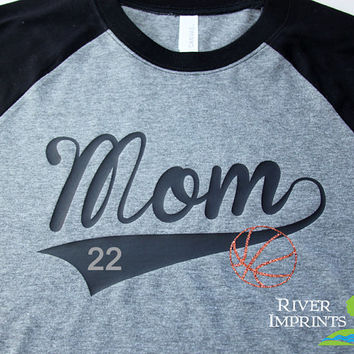 BALL MOM FAN, your choice of number and ball, sparkly glitter regular, long sleeve raglan tee shirt