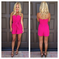 Under Wraps Romper With Boning - FUCHSIA