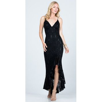 Black High and Low Wedding Guest Dress with Ruffles