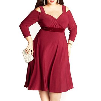 vergara plus size Dress Casual party off the cold shoulder Women Clothing Sexy V-Neck red