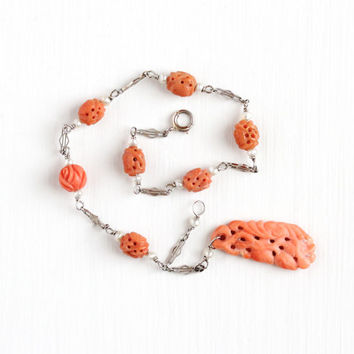 Vintage 14k White Gold Carved Coral and Seed Pearl Bracelet - Anitque Art Deco 1920s Filigree Chain Pendant Charm Organic Gem Fine Jewelry