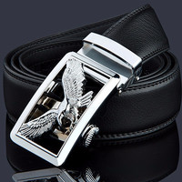 Black Leather Belt with Silver Eagle Buckle