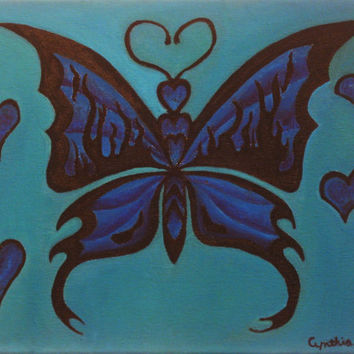 Blue and black Tribal Butterfly Painting oil on canvas punk emo goth painting varnished painting 11x14 dorm black flame hearts original