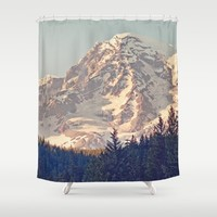 Mount Rainier Retro Shower Curtain by Kurt Rahn
