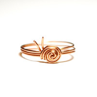 Snail Ring Custom Sized Wire Wrapped Copper Snail Ring Garden Snail Nature Jewelry