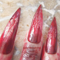 halloween bloody claws witch vampire zombie blood werewolf fake nails wolf play role stiletto nails costume uñas cosplay lasoffittadiste