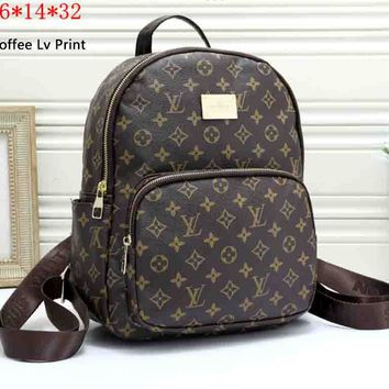 LV tide brand men and women retro wild casual backpack Coffee Lv Print