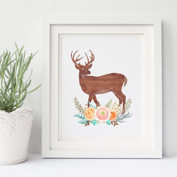 Deer Printable Nursery Art 8x10 Print, Woodland Animals, Instant Download, Forest Nursery, Watercolor Artwork, Girly Wall Art, Poster