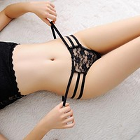 2016 sexy bandage g string thongs women panties underwear briefs lace transparent g-string ropa bragas tangas calcinhas knickers