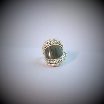 Wire Wrap Ring Labradorite 925 Sterling Silver Size 6 Handmade Heady Jewelry
