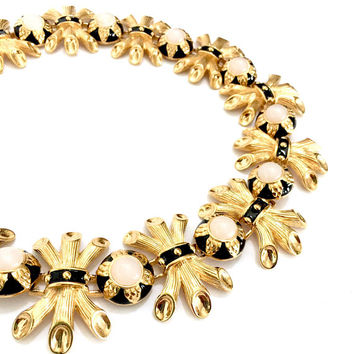 Fendi Italy Haute Couture Gold Plated Necklace, Wheat Sheaf Motif, Black Enamel Moonstone Cabs, Vintage Signed Designer Statement Necklace