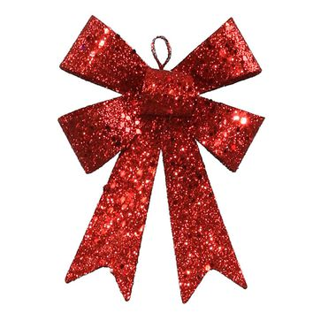 """5"""" Red Sequin and Glitter Bow Christmas Ornament"""