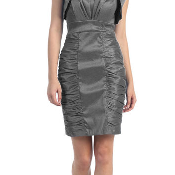 Short Ruched Charcoal Sheath Cocktail Dress With Shrug