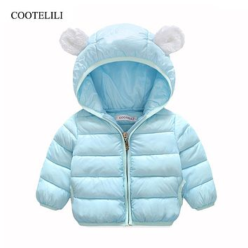 COOTELILI 66-100cm Infant Baby Girl Clothes Kawaii Bear Winter Jacket Hooded Parkas For Girls Snowsuit Winter Coat For Boys