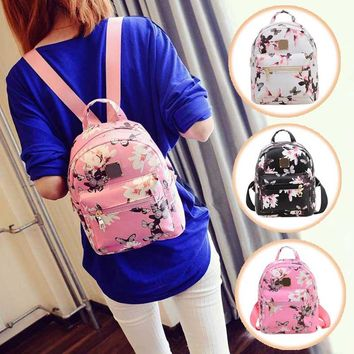 New Women Butterfly Flower Small Backpack Printed PU Leather Lady Fashion Cute Travel Backpacks LBY2017