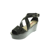 Prada Womens Patent Leather Strappy Platforms
