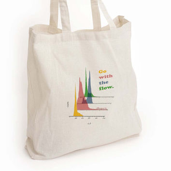 "Flow cytometry canvas tote bag, ""Go with the flow"" lab tech gift"
