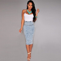 Casual Denim High Waist Pencil Skirt = 1930028868