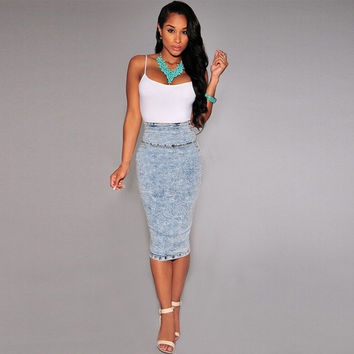 Shop Denim Pencil Skirt on Wanelo