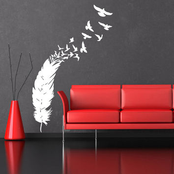 Wall Decal Vinyl Sticker Decals Art Home Decor Design Mural Feather Birds Nib Style Feather Peacock Living Room Modern Fashion Bedroom AN360