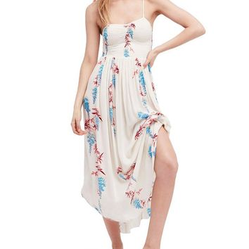 Free People - beau smocked printed slip maxi dress - ivory