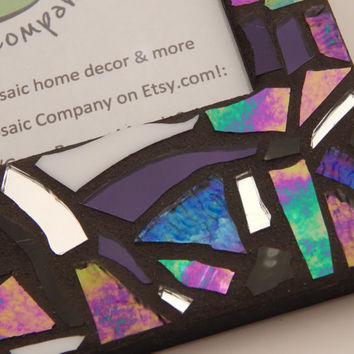 Mosaic Picture Frame, Reflective Iridescent and Textured Multicolor Stained Glass Design, Handmade