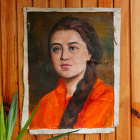 Soviet Oil Portrait of a Woman / Original Oil on Canvas Painting of Young Girl in Orange: 21''x16'' Mid Century Wall Art, Socialist Realism