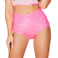 Pink Iridescent Sequin High-Waist Shorts