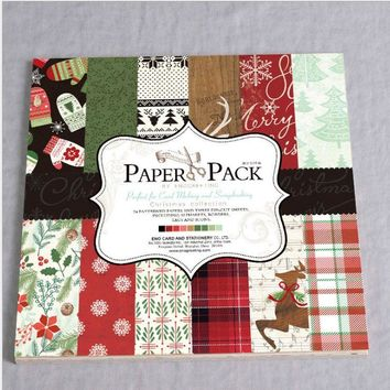 DIY Christmas style Scrapbooking paper pack of 24 sheets handmade craft paper craft Background pad