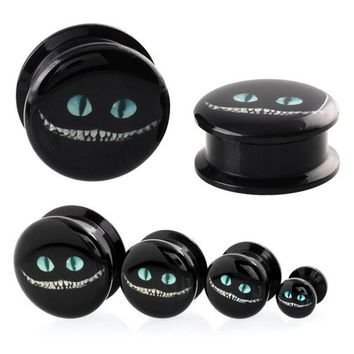 ac DCCKO2Q 2PCS Acrylic Alice in Wonderland Cheshire Cat Cartoon  Design Ear Plugs and Tunnels Ear Gauges Earrings Body Piercing Jewelry