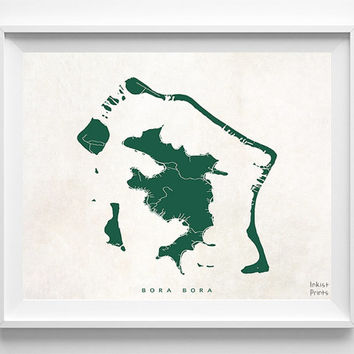 Bora Bora Map, Bora Bora Print, Bora Bora Poster, French Polynesia, Map Art, Decor Idea, Home Town, Dorm Decor, Halloween Decor