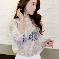 plaid sheer blouse