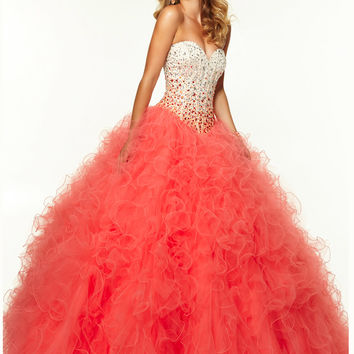 Sweetheart Beaded Ruffled Ball Gown Paparazzi Prom Dress By Mori Lee 97086
