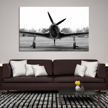67097 - Black and White Modern Fighter Plane Canvas, Airplane Canvas Print, Aircraft Wall Art, Large Wall Art, Large Canvas Print, Aviation Wall Art, Home Decor, Housewarming Gift