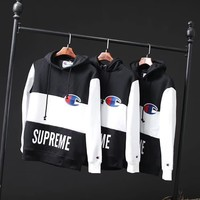 Supreme X Champion Women Men Fashion Edgy Loose Embroidery Hooded Top Sweater Pullover