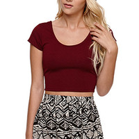 LA Hearts Textured Cap Sleeve Cropped Top at PacSun.com