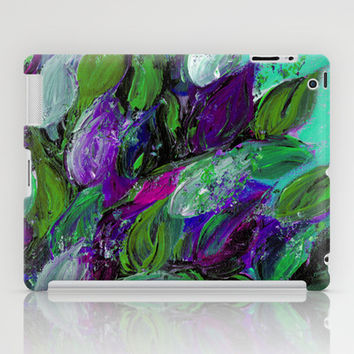 BLOOMING BEAUTIFUL 1 - Floral Painting Mint Green Seafoam Purple White Leaves Petals Summer Flowers iPad Case by EbiEmporium