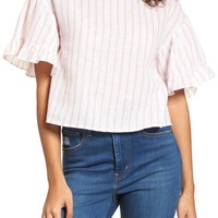BP. Ruffle Sleeve Linen Blend Crop Top | Nordstrom
