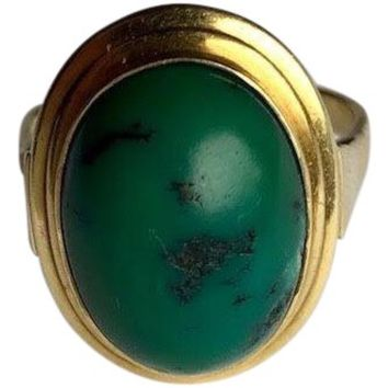14k Gold Ring With Large Green Oval Stone